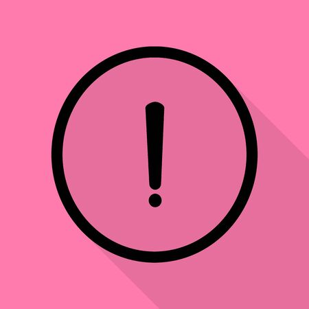 Exclamation mark sign. Black icon with flat style shadow path on pink background.