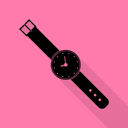 seconds: Watch sign illustration. Black icon with flat style shadow path on pink background. Illustration