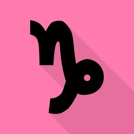 ecliptic: Capricorn sign illustration. Black icon with flat style shadow path on pink background.