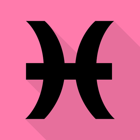 Pisces sign illustration. Black icon with flat style shadow path on pink background.