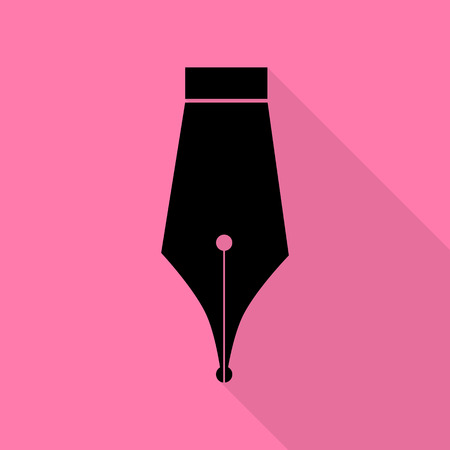 Pen sign illustration. Black icon with flat style shadow path on pink background.