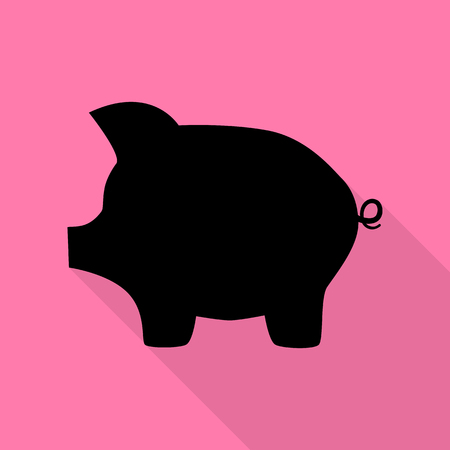 Pig money bank sign. Black icon with flat style shadow path on pink background. Illustration