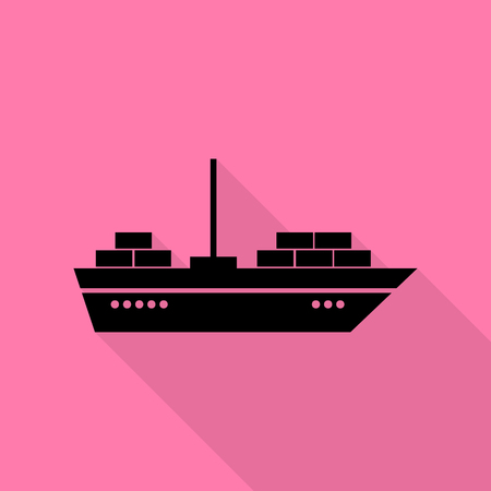 inflate boat: Ship sign illustration. Black icon with flat style shadow path on pink background. Illustration