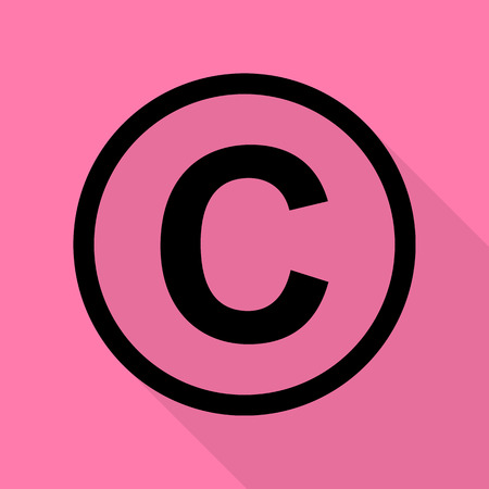 Copyright sign illustration. Black icon with flat style shadow path on pink background.