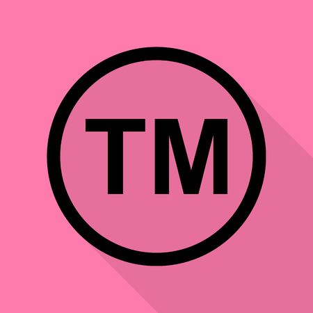 Trade mark sign. Black icon with flat style shadow path on pink background.