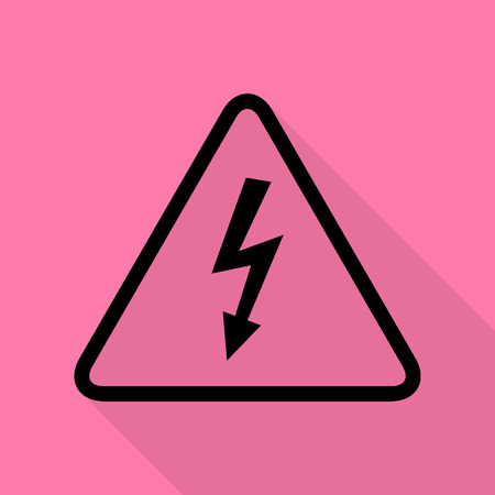volte: High voltage danger sign. Black icon with flat style shadow path on pink background.