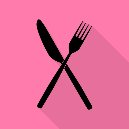 Fork and Knife sign. Black icon with flat style shadow path on pink background.