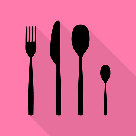 Fork spoon and knife sign. Black icon with flat style shadow path on pink background. Illustration