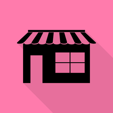 Store sign illustration. Black icon with flat style shadow path on pink background.