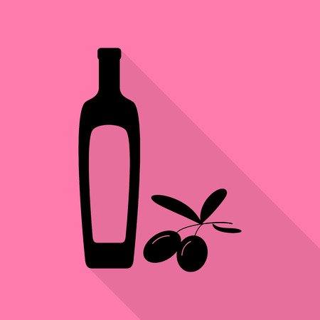 Black olives branch with olive oil bottle sign. Black icon with flat style shadow path on pink background. Illustration