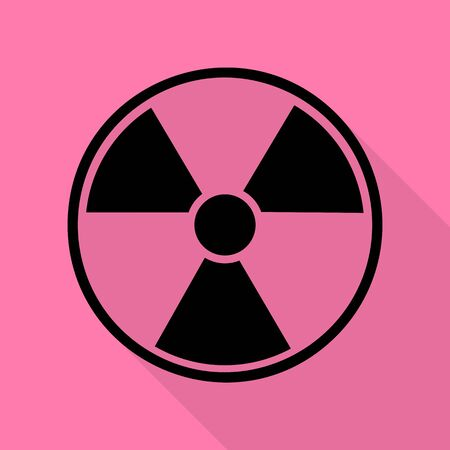 Radiation Round sign. Black icon with flat style shadow path on pink background.