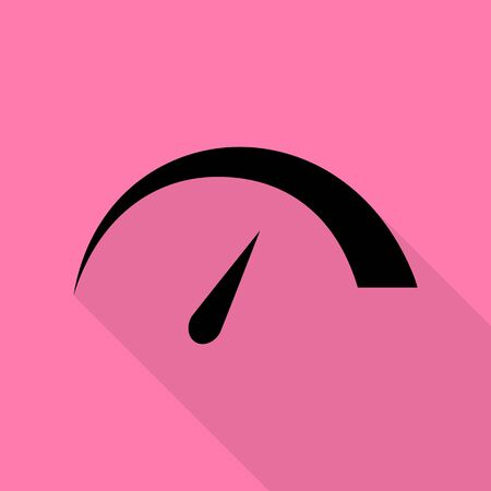 Speedometer sign illustration. Black icon with flat style shadow path on pink background.