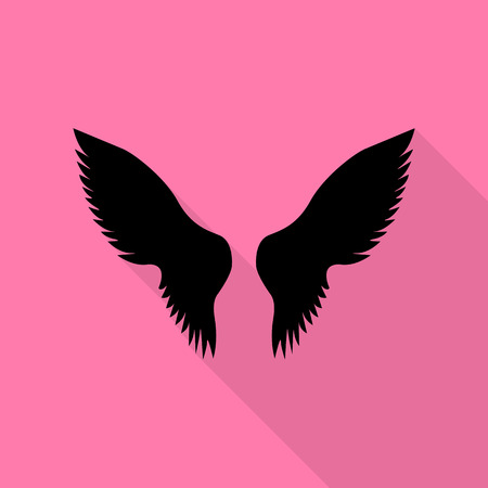 Wings sign illustration. Black icon with flat style shadow path on pink background.
