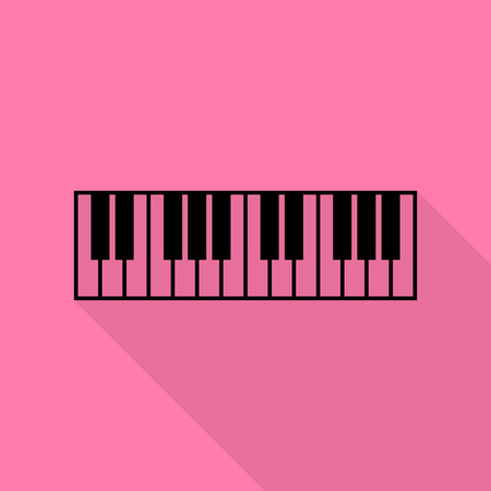 acoustically: Piano Keyboard sign. Black icon with flat style shadow path on pink background. Illustration