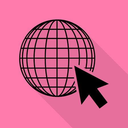 Earth Globe with cursor. Black icon with flat style shadow path on pink background. Illustration