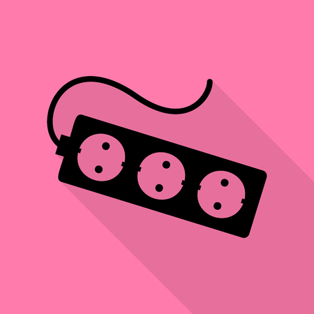 overload: Electric extension plug sign. Black icon with flat style shadow path on pink background.