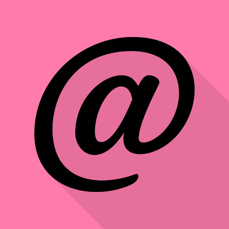 Mail sign illustration. Black icon with flat style shadow path on pink background.