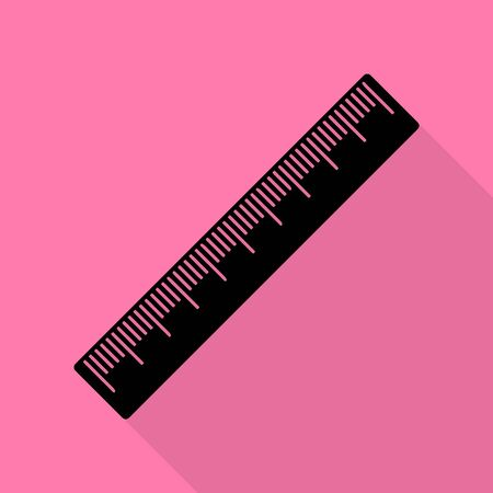 Centimeter ruler sign. Black icon with flat style shadow path on pink background.