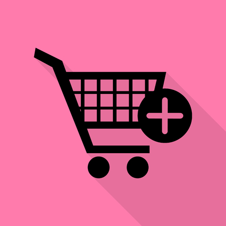 Shopping Cart with add Mark sign. Black icon with flat style shadow path on pink background. Illustration