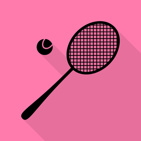 handled: Tennis racquet sign. Black icon with flat style shadow path on pink background.