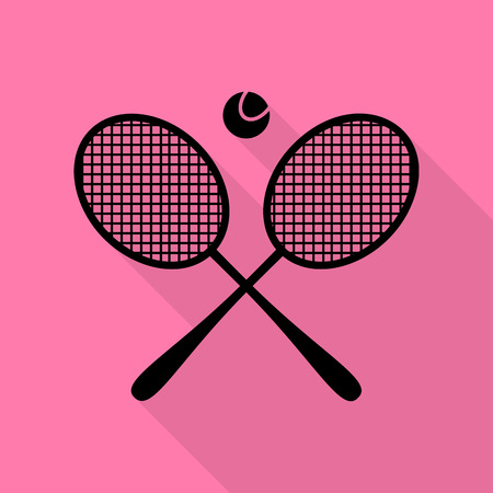 Tennis racket sign. Black icon with flat style shadow path on pink background.