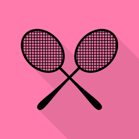 Tennis racquets sign. Black icon with flat style shadow path on pink background.