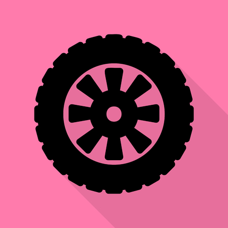 Road tire sign. Black icon with flat style shadow path on pink background.