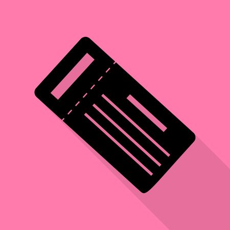 admit: Ticket simple sign. Black icon with flat style shadow path on pink background.