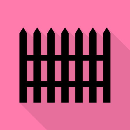 Fence simple sign. Black icon with flat style shadow path on pink background. Illustration
