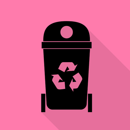 Mülleimer Zeichen Abbildung. Schwarze Ikone mit flachem Artschattenweg auf rosa Hintergrund.