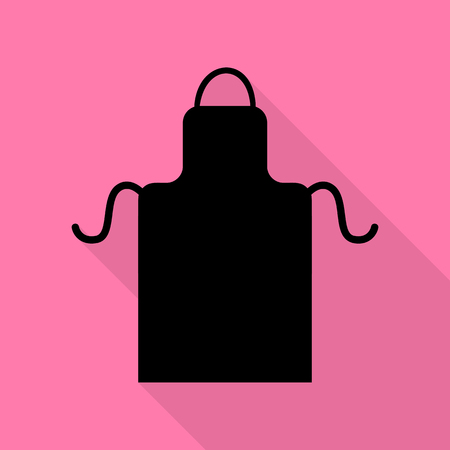 barbecue stove: Apron simple sign. Black icon with flat style shadow path on pink background. Illustration