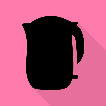 boiler: Electric kettle sign. Black icon with flat style shadow path on pink background. Illustration