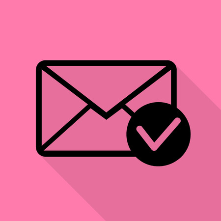 allow: Mail sign illustration with allow mark. Black icon with flat style shadow path on pink background.