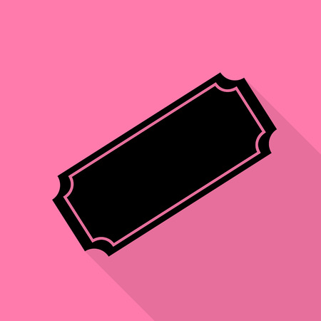Ticket sign illustration. Black icon with flat style shadow path on pink background.