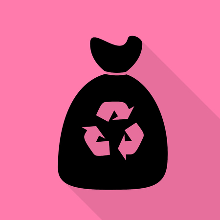 food waste: Trash bag icon. Black icon with flat style shadow path on pink background.