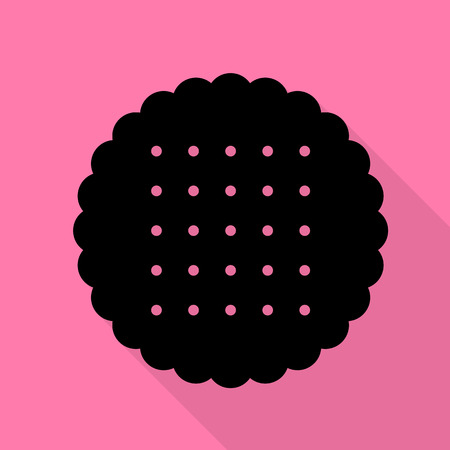 scone: Pyramid sign illustration. Black icon with flat style shadow path on pink background. Illustration