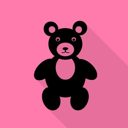 Teddy bear sign illustration. Black icon with flat style shadow path on pink background.