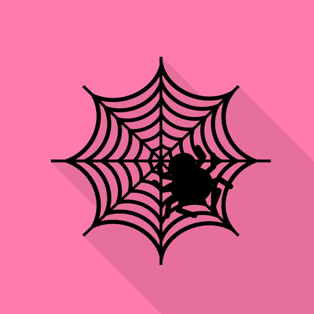 Spider on web illustration Black icon with flat style shadow path on pink background.