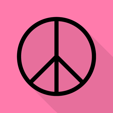 pacificist: Peace sign illustration. Black icon with flat style shadow path on pink background.