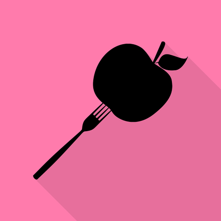 Vegetarian food sign illustration. Black icon with flat style shadow path on pink background. Illustration