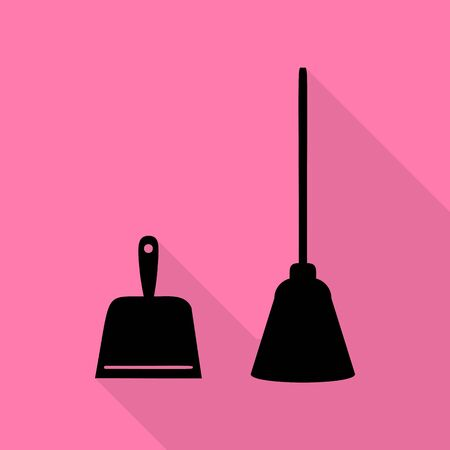 whisk broom: Dustpan vector sign. Scoop for cleaning garbage housework dustpan equipment. Black icon with flat style shadow path on pink background.