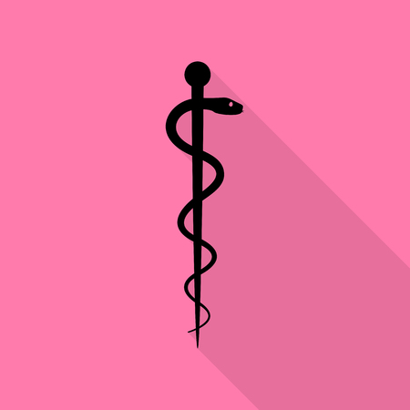 Symbol of the Medicine. Black icon with flat style shadow path on pink background.
