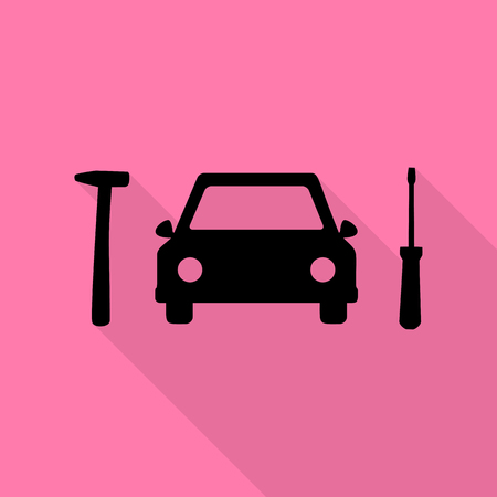chassis: Car tire repair service sign. Black icon with flat style shadow path on pink background. Illustration