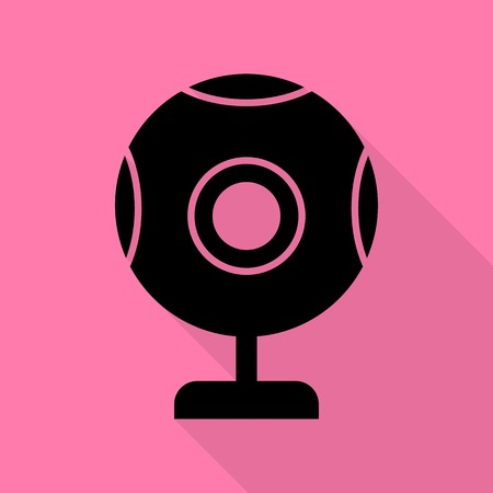 len: Chat web camera sign. Black icon with flat style shadow path on pink background. Illustration