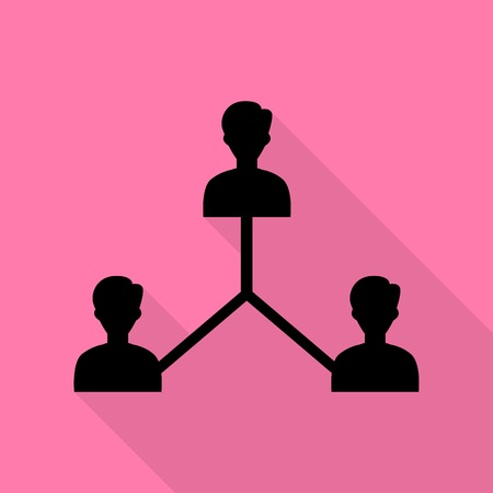 social gathering: Social media marketing sign. Black icon with flat style shadow path on pink background.