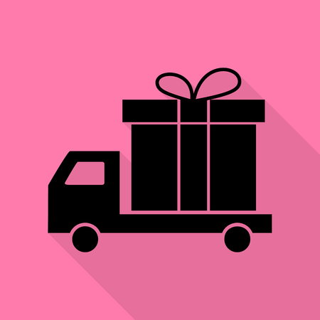 Delivery gift sign. Black icon with flat style shadow path on pink background.
