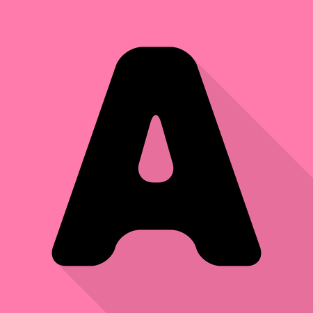 Letter A sign design template element. Black icon with flat style shadow path on pink background. Illustration