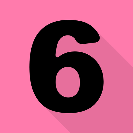 Number 6 sign design template element. Black icon with flat style shadow path on pink background. Illustration