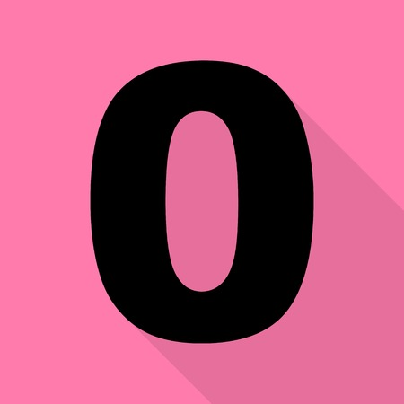 Number 0 sign design template element. Black icon with flat style shadow path on pink background.
