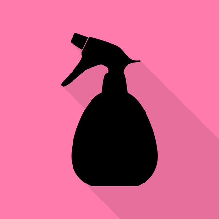 Spray bottle for cleaning sign. Black icon with flat style shadow path on pink background.